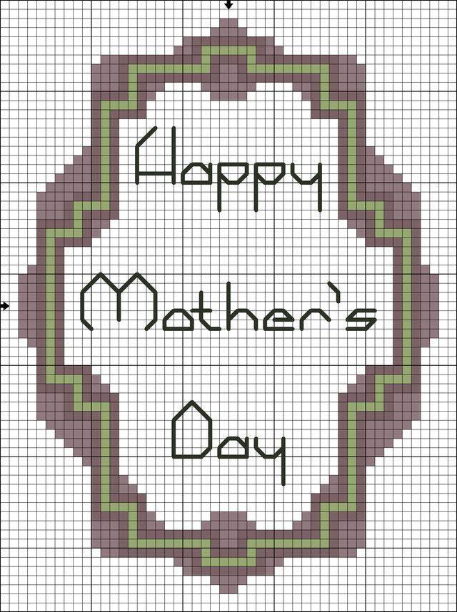 Free Printable Counted Cross Stitch Chart for Mother's Day : Free Happy Mother's Day Solid Color Cross Stitch Pattern