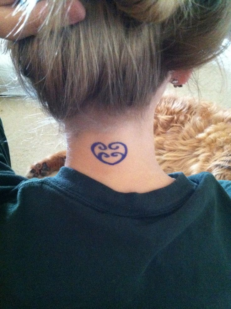Symbol for sister tattoo on back of the neck