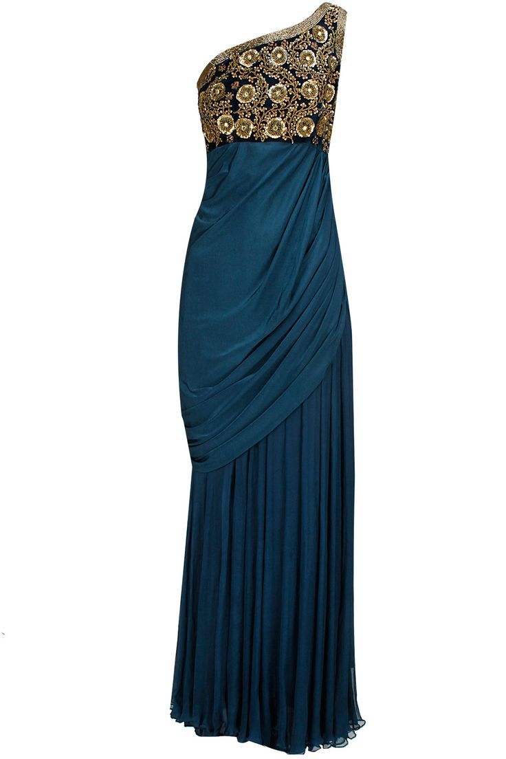 Blue embroidered draped sari gown available only at Pernia's Pop-Up Shop.