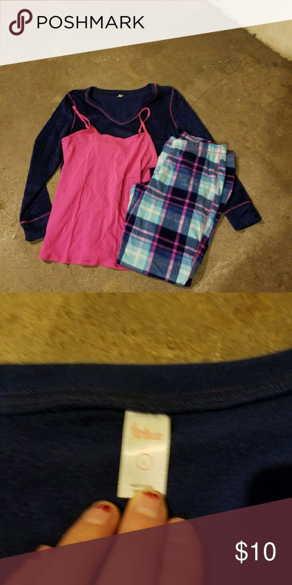 Flirtitude Fleece Flannel Pajama Set New blue amd pink fleece flannel print pajama set. Comes with long sleeve top, tank top, and pants set. Flirtitude  Intimates & Sleepwear Pajamas