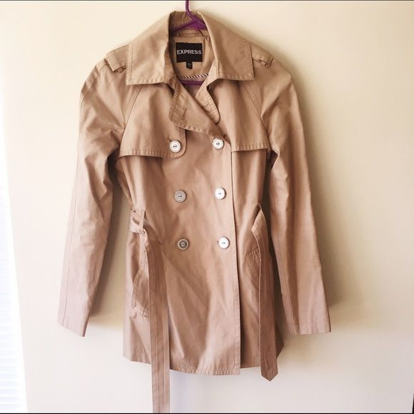 Express Trench Coat Tan lightweight trench coat from Express. Belted, lightweight. Perfect for spring. Excellent used condition, just back from the dry cleaner. Express Jackets & Coats Trench Coats