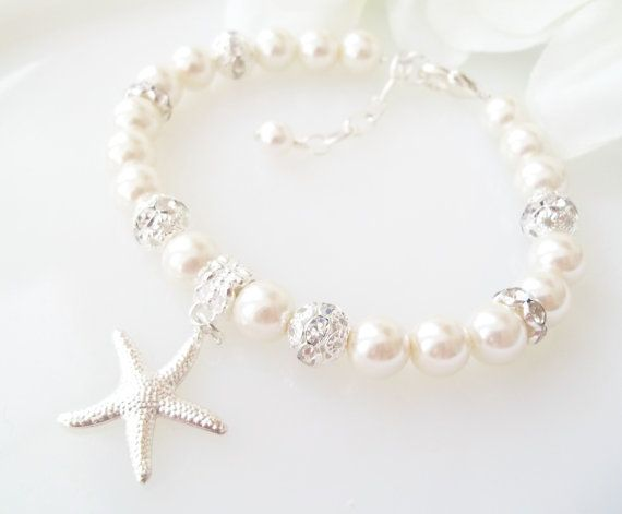 Starfish Bracelet,Bridal Bracelet,Silver Starfish Charm,Beach Nautical Wedding Jewelry, Bridesmaid Starfish Bracelet,Pearl Starfish Bracelet