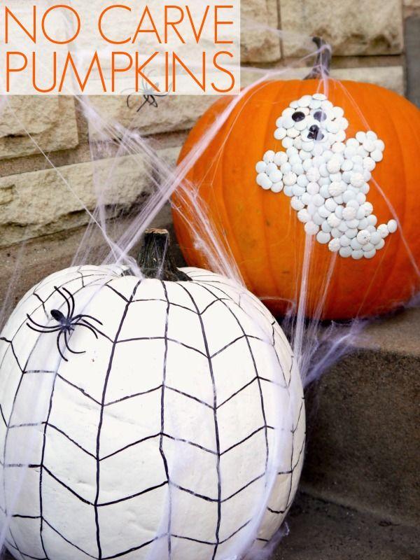 No carve pumpkin decorating.  she used white tacks for ghost, but I'd rather glue on pumpkin seeds!