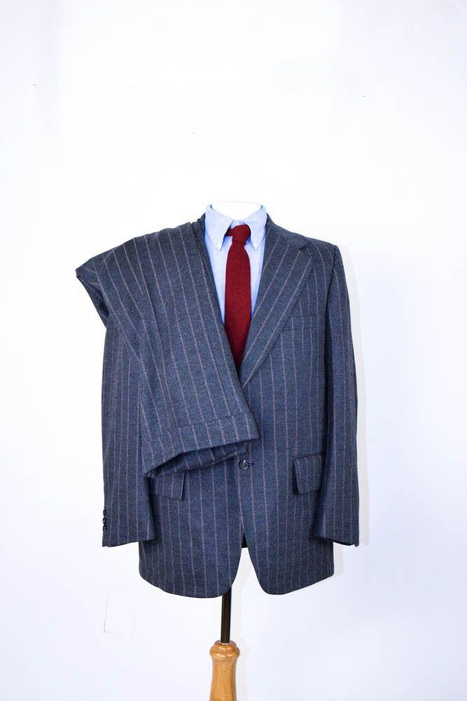 Vintage Men's Suit   1970s Wide Lapels   Gray Wool Pinstripe Suit   40R