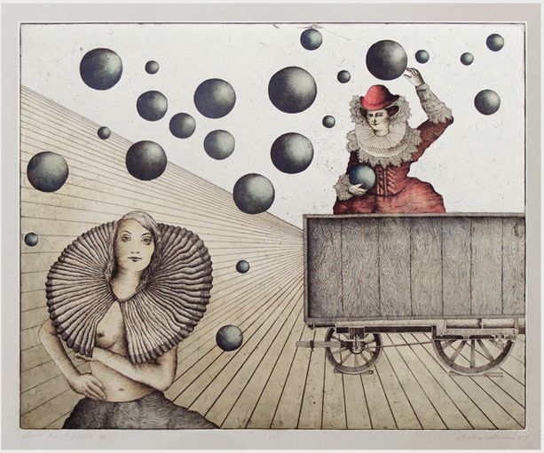 Andrzej Mazur-Train's Balls-hand coloured etching