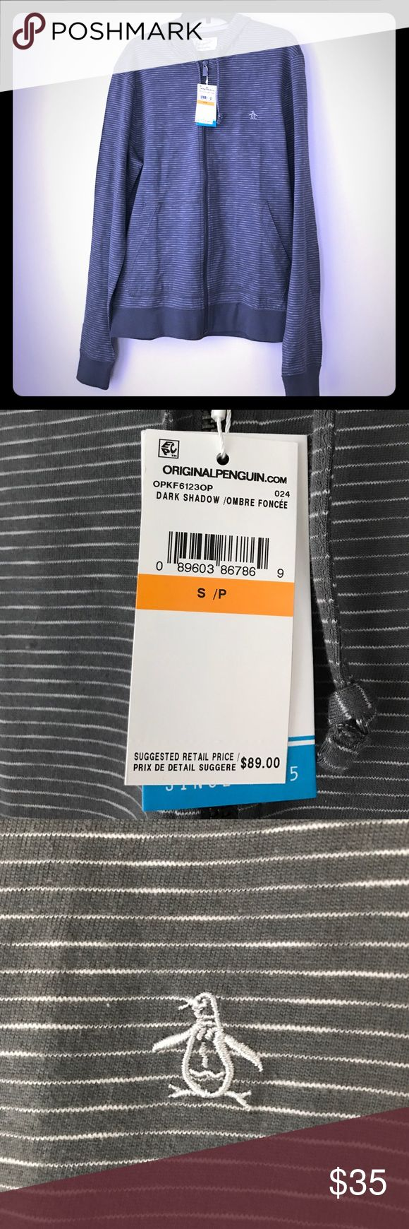 NWT Penguin brand gray/white striped zip hoodie Size small and perfect for Spring Original Penguin Shirts Sweatshirts & Hoodies