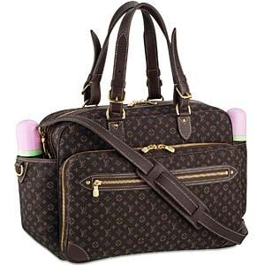 Louis vuitton diaper bag has many separated small bags. Its inner layer is made of cotton cloth and out layer is made of cow leather.