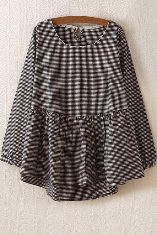Long Sleeve Plaid Flare Dress