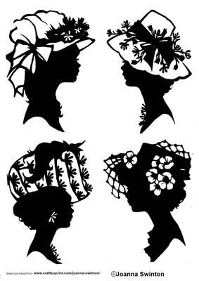 4 different ladies head silhouettes for really great card fronts.  Embellish the sides to add some colour and these will look great for such a lot of different occasions, can even become christmas cards with holly round the sides.