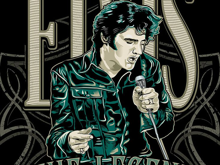 """«ELVIS The LEGEND» Fragment vector illustration. Artwork series of music. Illustration of the print for t-shirts. The client """"Reya"""" studio. The work is done in programs Adobe Illustrator."""