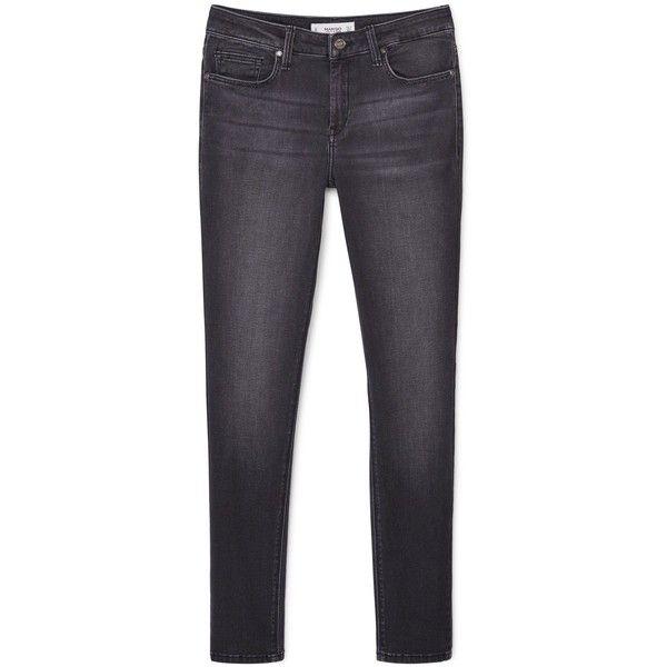 Mango Skinny Elektra jeans (1.165.105 VND) ❤ liked on Polyvore featuring jeans, grey, women, mango jeans, zipper jeans, skinny jeans, mid rise skinny jeans and 5 pocket jeans