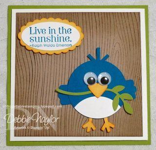 "Blue Bird punch art card   body - 1-3/4"" circle punch   beak - small heart punch   feet and ""hair"" - snowflake punch   wings - modern label punch   branch - 2-step bird punch"