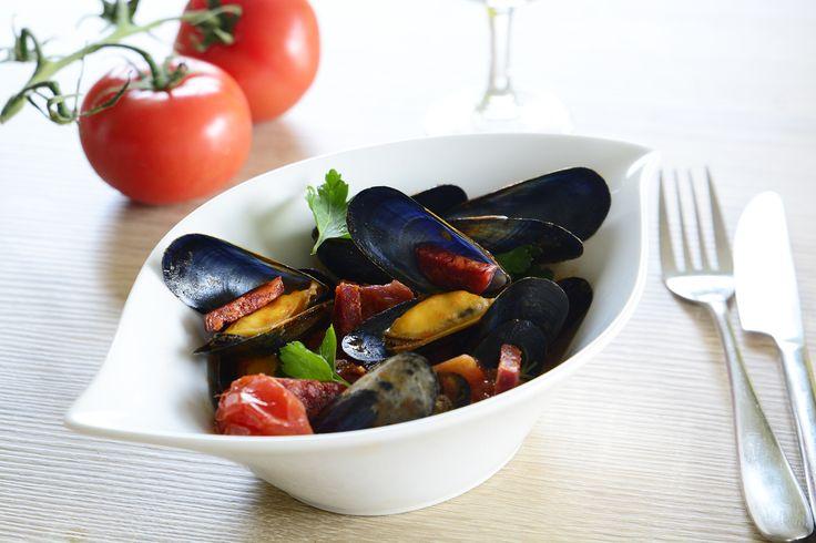 Moules Label Rouge au chorizo et tomates poêlées |Moules de Filières Label Rouge
