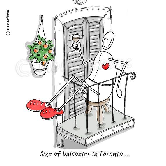 Balconies Toronto Hand Drawn Print Art, Funny Cartoons, Caricature, Funny Illustrations, Comic Poster, Humorous Comic Print, Funny Gift