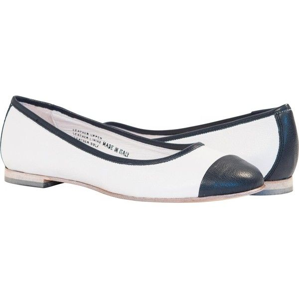 PAOLO IANTORNO Carolina White and Blue Cap Toe Dip Dyed Ballerina... ($179) ❤ liked on Polyvore featuring shoes, flats, blue and white, cap toe flats, blue and white flats, ballerina flat shoes, cushioned shoes and ballet flat shoes