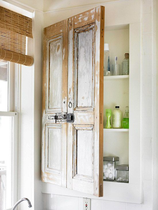 Re-using old shutters as door - lovely hidden storage, rustic style