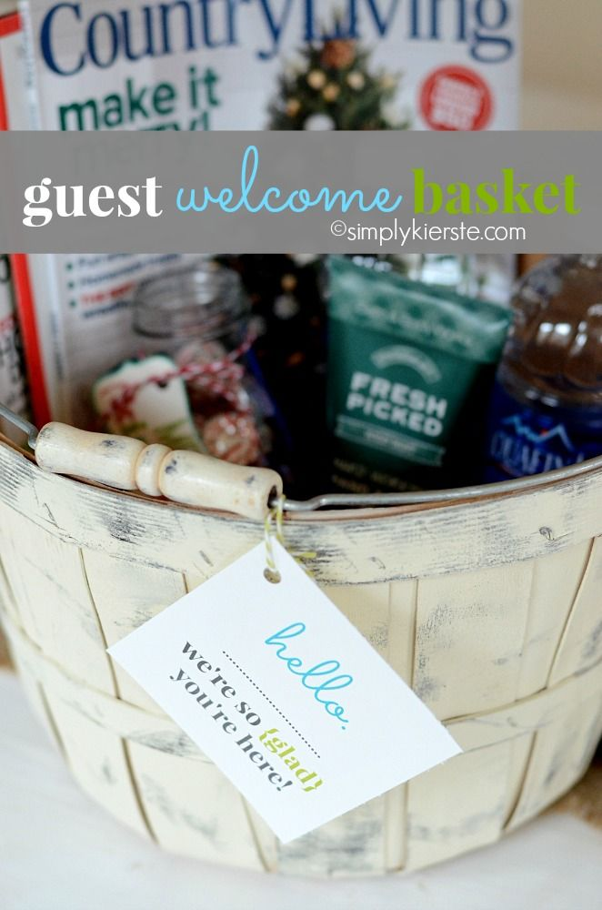 Holiday guests coming?  (Or anytime...) Put together a Guest Welcome Basket!  FREE printable included! #guests #entertaining #freeprintable