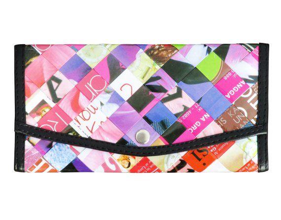 Carteira snap feita de papel reciclado de revista FRETE GRÁTIS carteiras femininas estilo tecido meu presente vegan reciclado presentes moda para rosa favorito