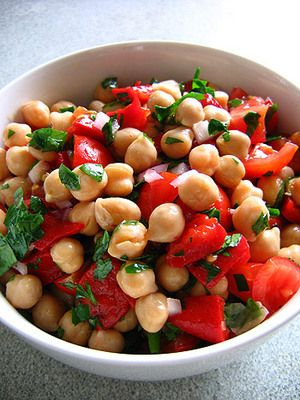 Chickpea & Tomato Salad with Fresh Basil Recipe: add red onion, red bell pepper, pinch of cayenne