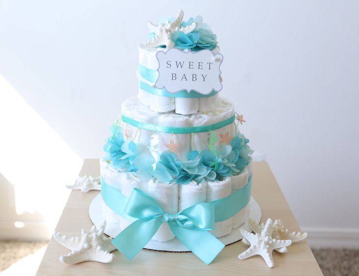 Diaper Pyramid For Baby Shower Part - 31: Under The Sea Diaper Cake / Girls Baby Shower Centerpiece / Mermaid  Starfish Shell Seahorse Tulle
