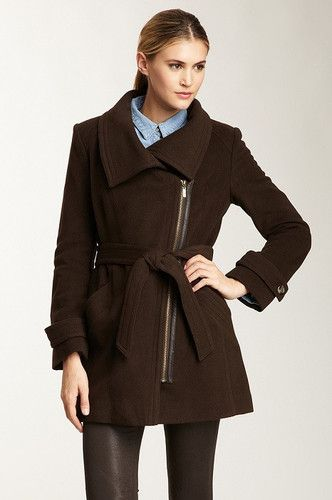 Cole Haan Cashmere/Wool Asymmetric Belted Coat in Expresso Reg $650 Sale $275. Cole Haan Asymmetric Belted-Zip Coat Luxe Winter-wrappings: You'll find this stylishly cut Cole Haan coat to be totally irresistible for its modish appeal that even wearing it indoors becomes a natural. Catch some fresh air in this gorgeous, warm city-chic Expresso colored coat.  Ready for a night on the town, dinner and a Broadway show.