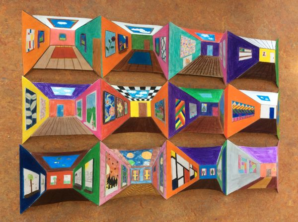 Reverse Perspective Watercolor Art Lessons Op Art Lessons Middle School Art Projects