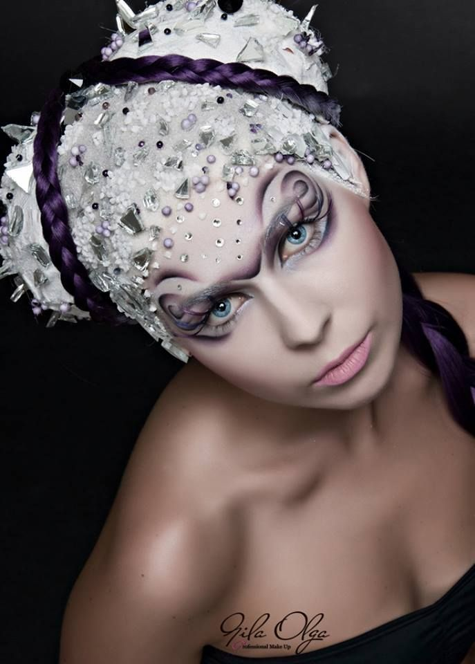 Creative purple bejeweled fantasy makeup by Olga Gila Sminkes with photo by Fekete Róbert.