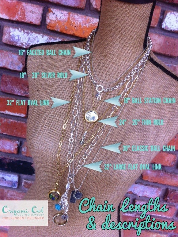 Chain choices for Origami Owl . Follow CINDY CAZARES on FB! https://www.facebook.com/hellociindycharms