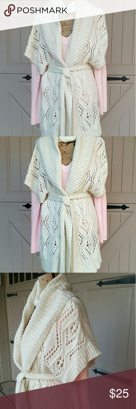 """Old Navy Cardigan Sweater  winte white shimmer  L NWT shimmer winter  white Cardigan Sweater wear with slacks or skirt for office or with a dress for evening size Large 35"""" in length bust 20 """" Old Navy Sweaters Cardigans"""