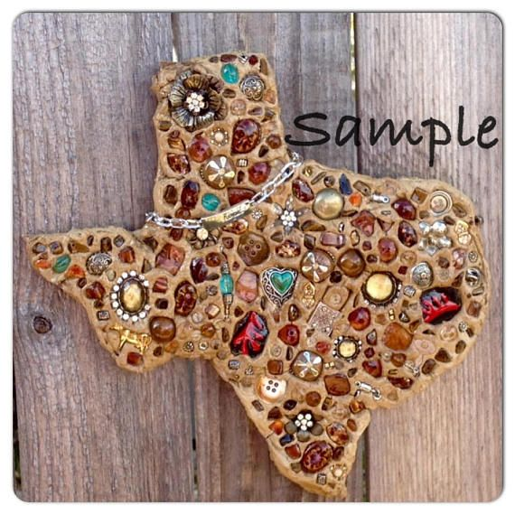 Upcycled Jewelry Texas Wall Art  CUSTOM ORDER  Using Your