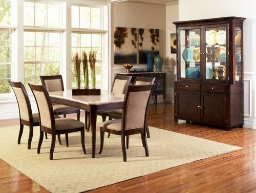 Steve Silver Company Marseille 7 Piece Marble Top Dining Table Set In Dark Cherry Find This Pin And More On Room Furniture El Paso Tx