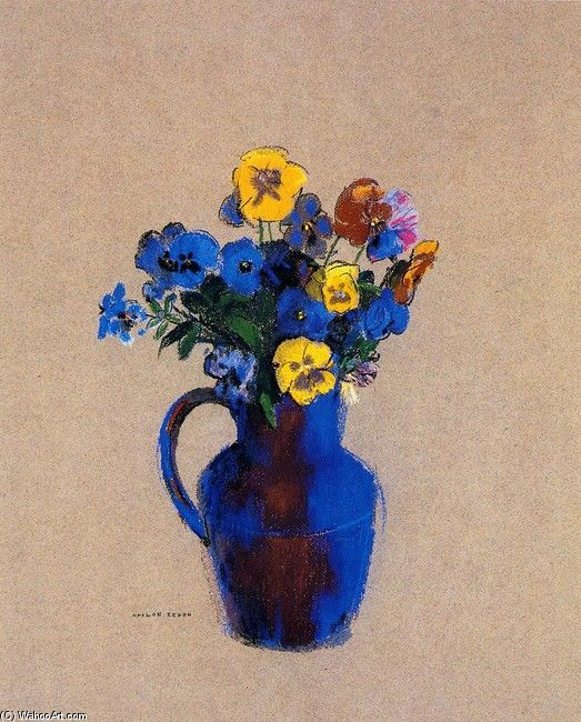 Odilon Redon,  Vase de fleurs - Pensées. http://fr.wahooart.com/a55a04/w.nsf/Opra/BRUE-8EWMSG