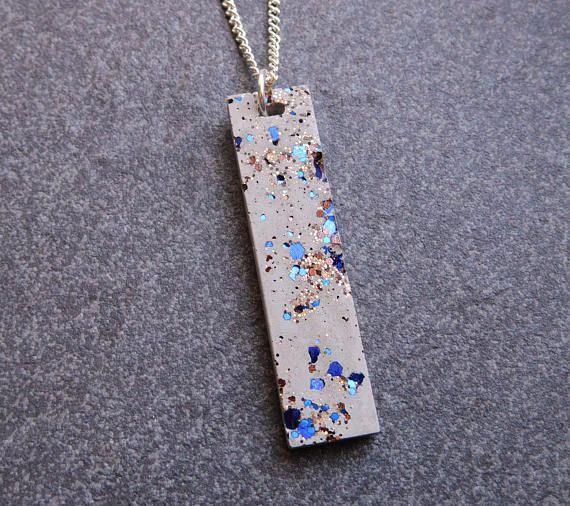 Starry night statement concrete necklace / concrete jewelry