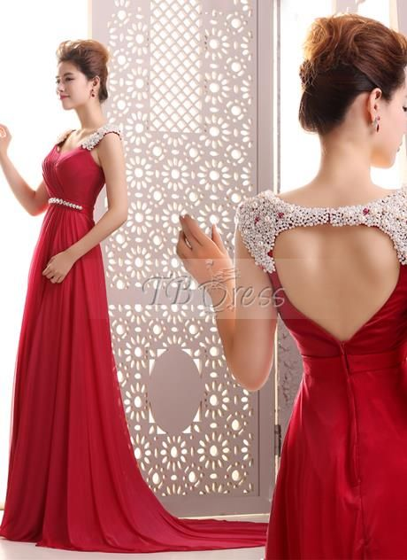 Tbdress.com offers high quality A-Line Straps Pearls Beading Floor-Length Backless Court Train Evening Dress Latest Evening Dresses unit price of $ 125.39.