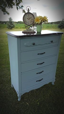 Emily Hepner Nelson gave this  French Provincial 5 drawer dresser an updated look with  Vintage Duck Egg.