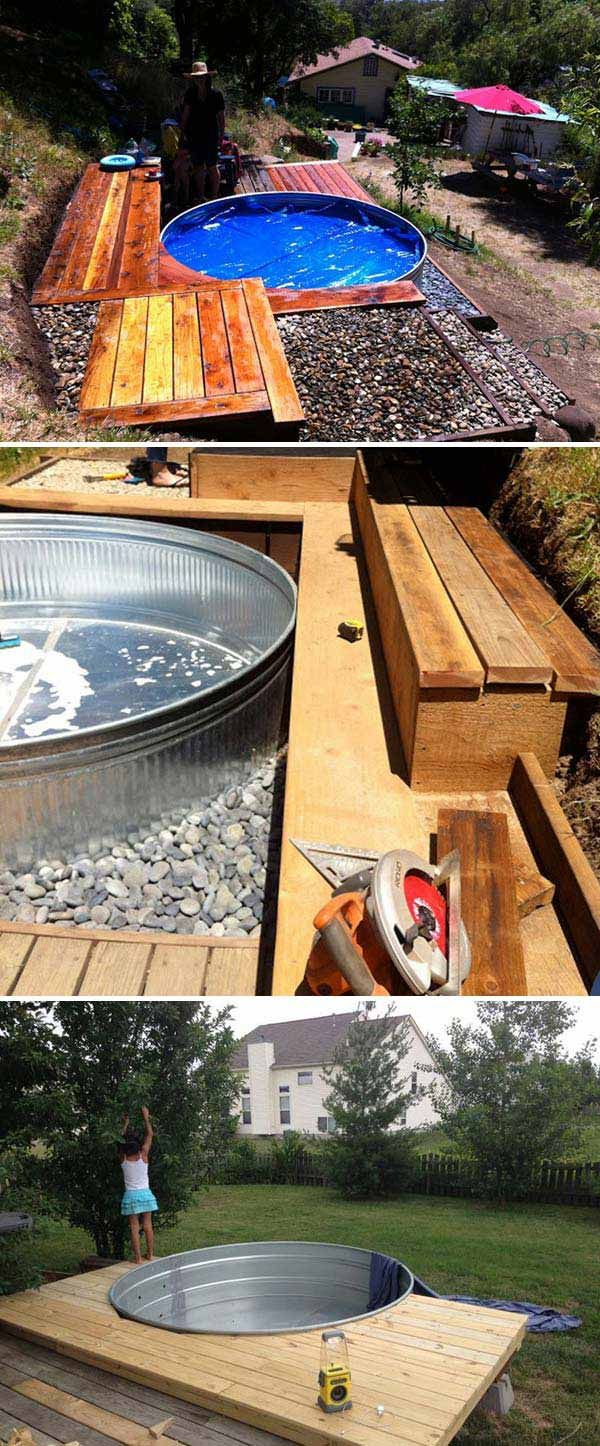 # Turn a stock tank into an above ground pool with wooden deck.