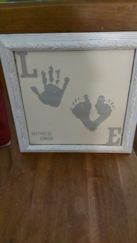 """Made for my grandparents 60th wedding anniversary, used my 4yr olds hands for the """"o"""" and the 18 month olds feet for the """"v"""". 1953 was the year married."""