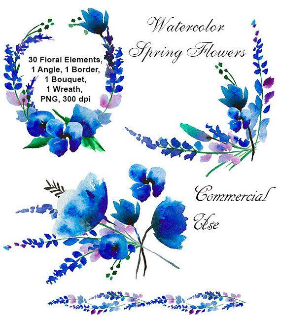 Акварель голубые цветы. Клипарт для оформления открытки.