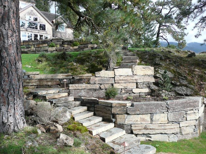Stacked Stone Retaining Wall Details Multi Tiered