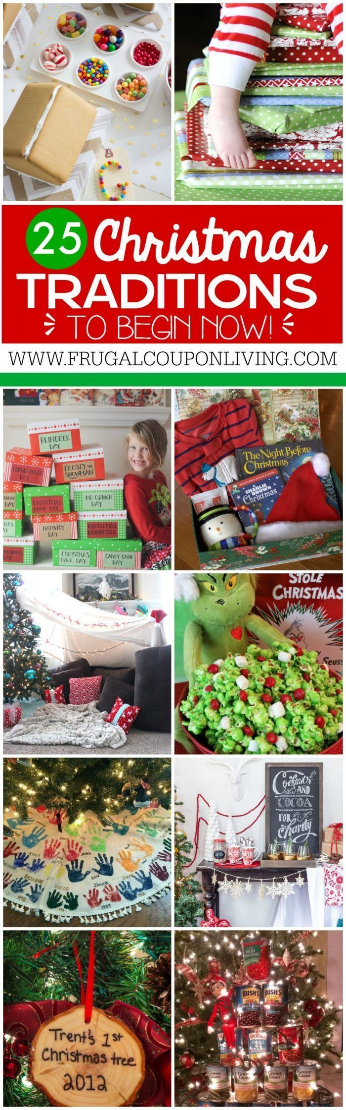 25 Christmas Traditions to start right now and pass down for years to come. I love the daily wrapped Christmas books idea. Ideas on Frugal Coupon Living as well has homemade advent calendars and Elf on the Shelf Ideas.