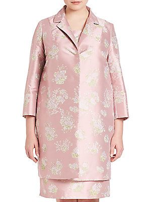 Marina Rinaldi, Plus Size Natascia Printed Jacquard Coat