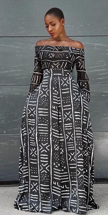 Mud cloth off shoulder maxi dress