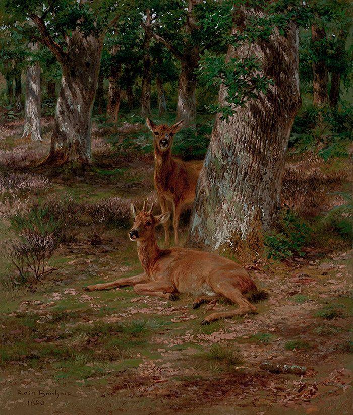 Rosa Bonheur - Deux jeunes cerfs dans une forêt
