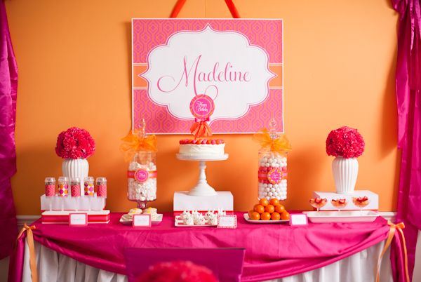 Cute Party Theme: Pancakes and PJs - also, love the pink + orange color scheme - #kidsparty #partytable: Birthday Parties, Colors Schemes, Pancakes And Pajamas, Hot Pink, Orange Parties, Parties Ideas, Pajamas Parties, Desserts Tables, Baby Shower