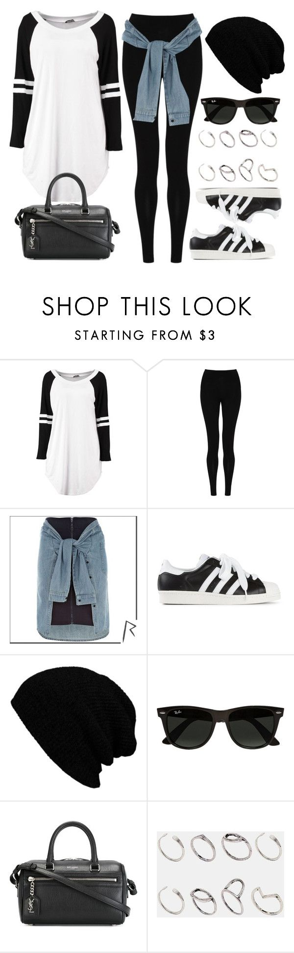 """""""Style #9912"""" by vany-alvarado ❤ liked on Polyvore featuring M&S Collection, River Island, adidas Originals, Ray-Ban, Yves Saint Laurent and ASOS"""