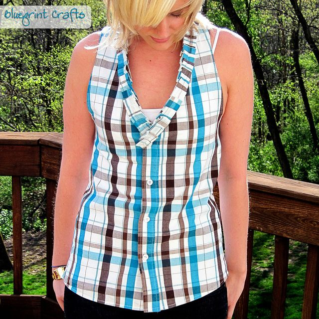 mens shirt upcycled into women's top
