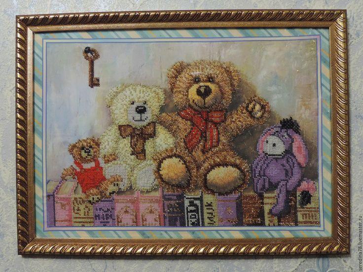 """Купить Картина """"Любимые игрушки"""". - бисер чешский, холст, игрушка, картина бисером, картина в детскую"""