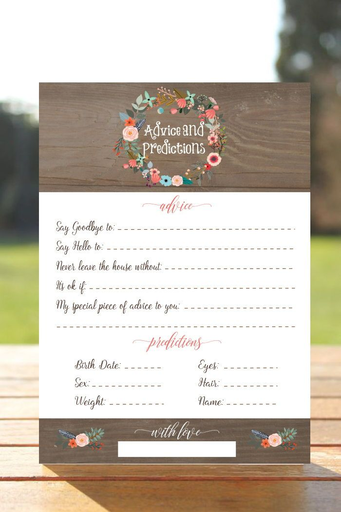 Fully Editable Baby Shower Prediction Cards Predictions For Baby Game Boho Baby Shower Game Printable Baby Shower Game Wood Rustic F1 Baby Shower Prediction Cards Baby Shower Games Unique Printable