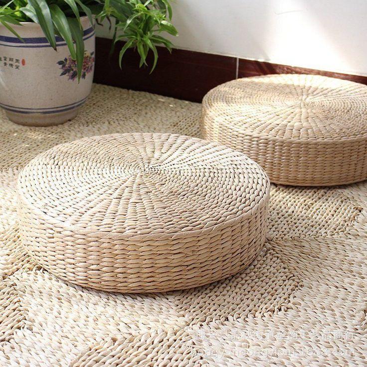 New Japanese Style Woven Tatami Floor Cushion Corn Maize Husk Breathable  Padded