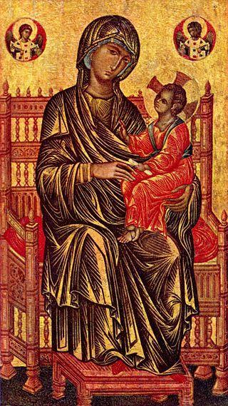 Una de las pinturas bizantinas más admiradas, laVirgen y el Niño (fines delsiglo XIII, National Gallery of Art, Washington). Se dice que en esta obra se refleja la influencia italiana manifiesta en el mundo bizantino durante esta época.